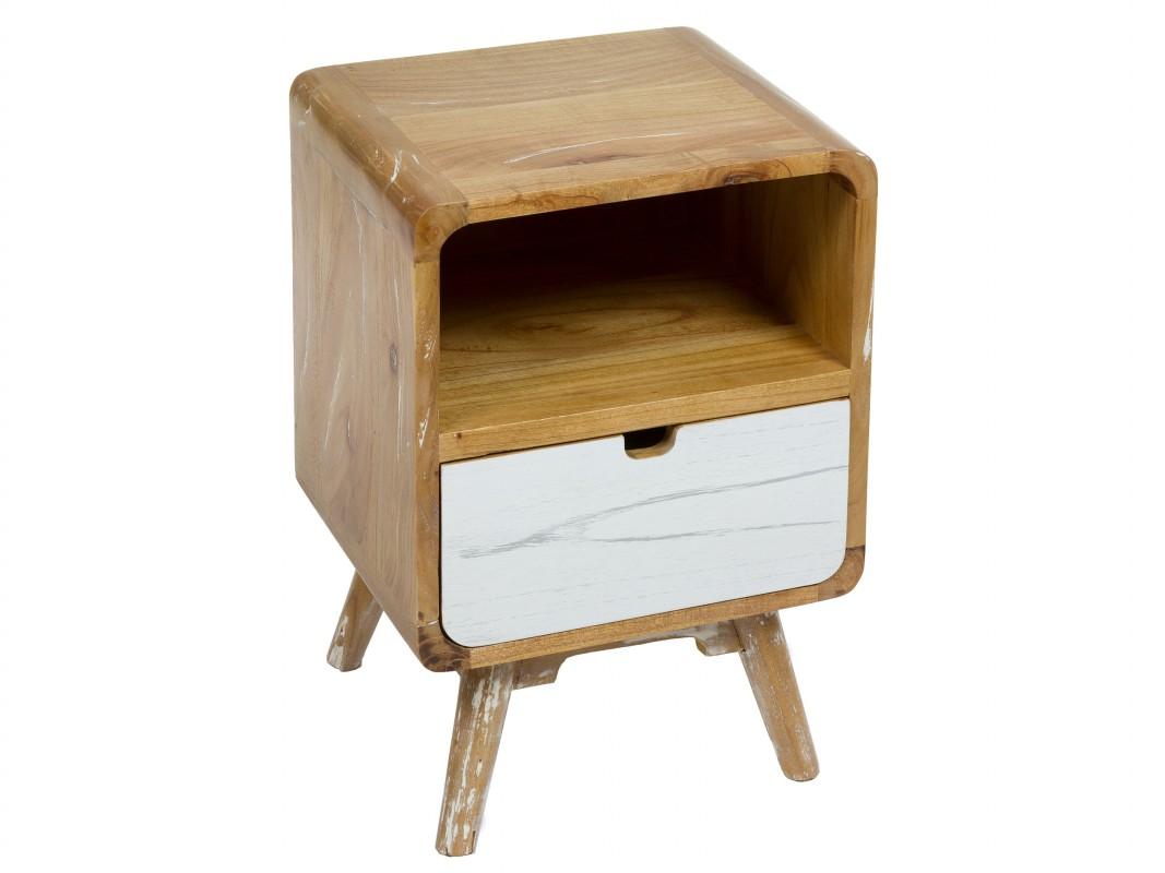 Mesita noche vintage nordica de madera de mindi roble y blanca - Mesitas de noche de madera ...