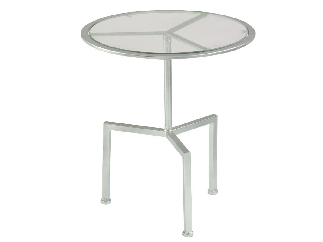 Mesa auxiliar redonda de metal y cristal color plata - Mesitas auxiliares de cristal ...