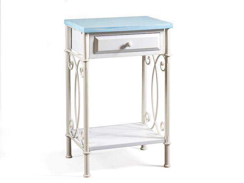 Mesa telefonera azul y blanca de madera y metal for Mesa blanca y madera