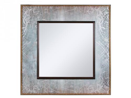 Espejo mapa cuadrado color plata for Espejos color plata