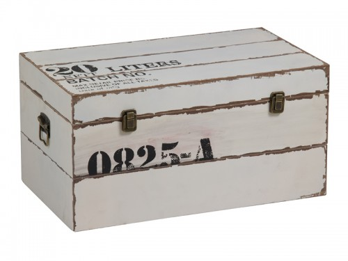 Caja rectangular de madera blanca for Cajas de madera blancas