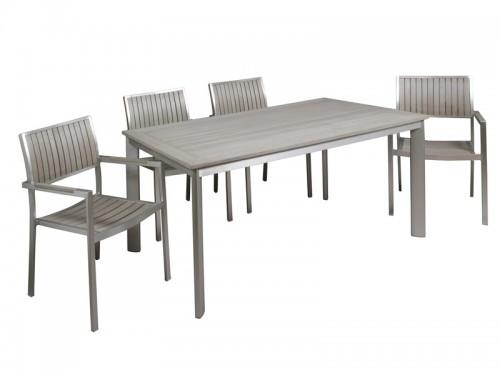 Conjunto de jard n mesa y 4 sillas de aluminio y sint tico for Conjunto de mesas y sillas jardin