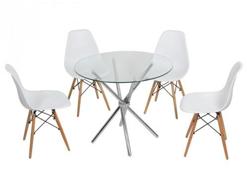 Mesa redonda de cristal y sillas eames muebles online - Mesa comedor cristal redonda ...