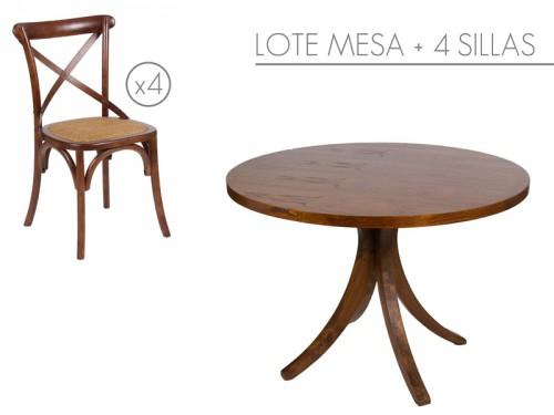 Conjunto mesa redonda con 4 sillas de madera for Mesa redonda con sillas