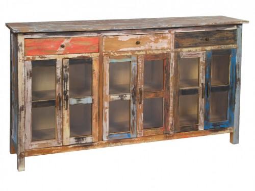 Aparador de colores vintage 180 cm de madera decapada - Colores vintage para muebles ...