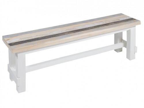 Banco de madera blanco con asiento decapado estilo vintage - Bancos de madera para banos ...