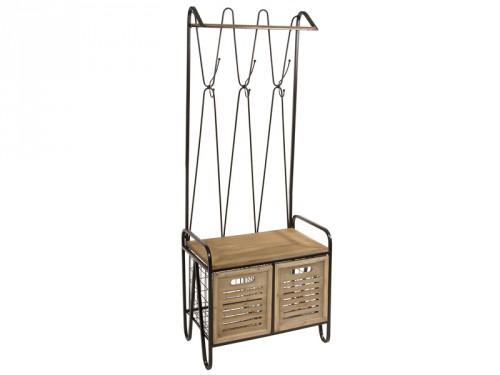 Banco perchero para recibidor con 2 cajones madera y metal for Recibidor vintage ikea