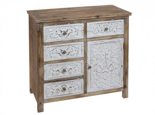 C moda con puerta y 5 cajones de madera de abeto envejecida for Patas para comodas