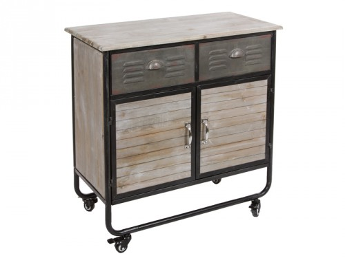 Mueble auxiliar industrial con ruedas 2 puertas y 2 cajones for Comprar mueble industrial