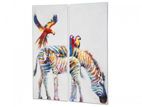 Cuadro grande cebras con p jaros cuadros decorativos - Cuadros de cebras ...