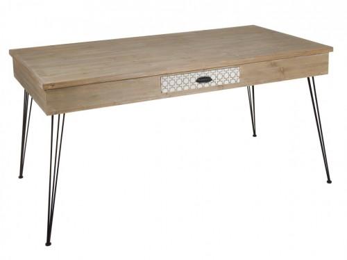 Mesa de comedor industrial de madera envejecida con caj n for Escritorio industrial vintage