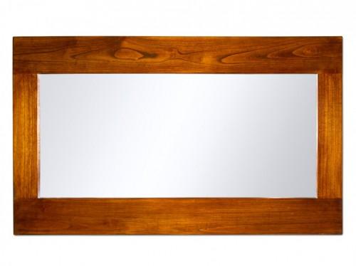 Espejo con marco de madera alargado estilo colonial for Espejos de pared con marco de madera