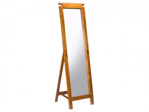 Espejo de pie largo de madera color nogal espejo colonial for Espejos de pie precios