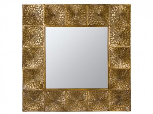 Espejo dorado cuadrado de metal con acabado vintage for Espejo cuadrado sin marco