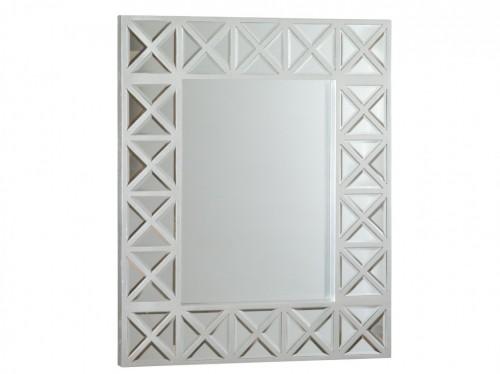 Espejo plata con marco de madera con crucetas venta online for Espejos con marco color plata