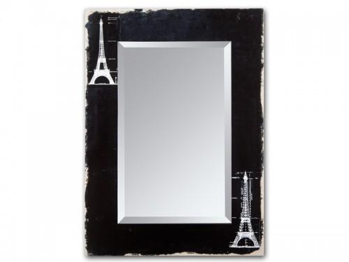Espejo con marco negro de madera decapada torre eiffel for Espejo marco negro