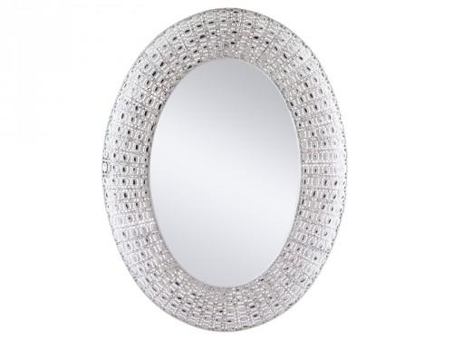 espejo ovalado con marco de metal blanco envejecido