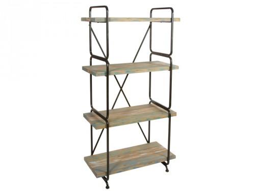 Estanter a estilo industrial de madera y metal con 4 baldas for Muebles de efecto industrial