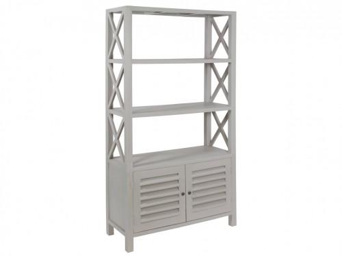 Estanter a con puertas de madera de mindi color gris roto - Estanterias con puertas ...