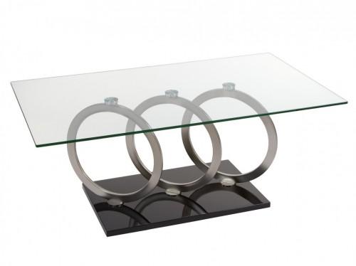 Mesa de centro de vidrio templado y acero estilo moderno - Mesa centro cristal y acero ...