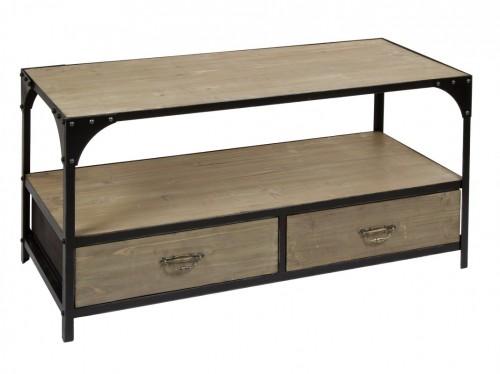 Mesa de centro de hierro y madera con cajones estilo industrial - Mesa centro madera y hierro ...