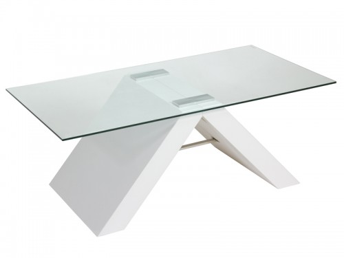 Mesa de centro moderna de cristal y mdf color blanco for Mesa cristal moderna