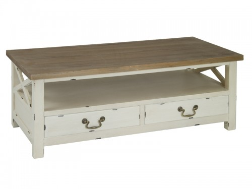 Mesa de centro antigua de madera decapada muebles vintage for Mesas antiguas de madera
