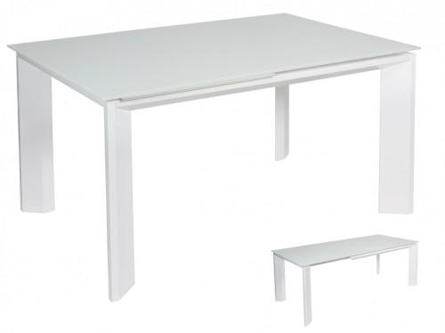 Mesa extensible blanca de cristal templado y acero - Mesa blanca extensible ...