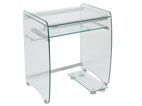 Mesa ordenador peque a de cristal transparente escritorios - Mesas para el ordenador ...