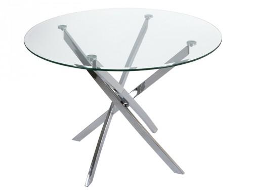 Mesa redonda de cristal con patas de acero inoxidable for Mesa vidrio redonda para comedor