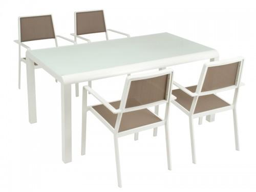 Mesa y 4 sillas para terraza de aluminio y cristal for Mesa cristal exterior