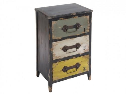 Mueble industrial de madera y metal con 3 cajones for Comprar mueble industrial