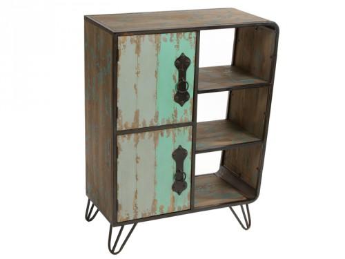 Mueble industrial de metal y madera de abeto decapada for Comprar mueble industrial