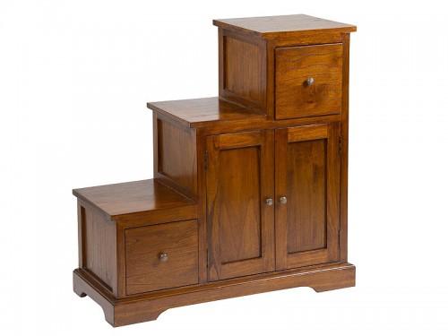 Mueble escalera con cajones y armario estilo colonial for Muebles con cajones de madera