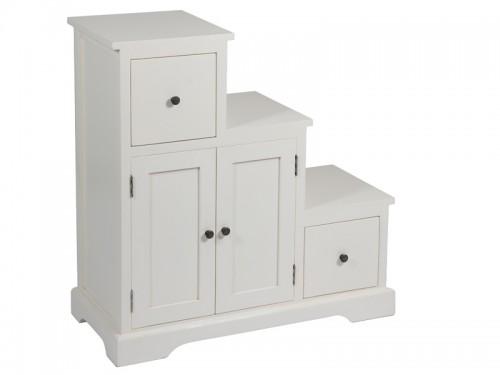 Mueble escalonado auxiliar de madera con cajones y puertas for Muebles con cajones de madera