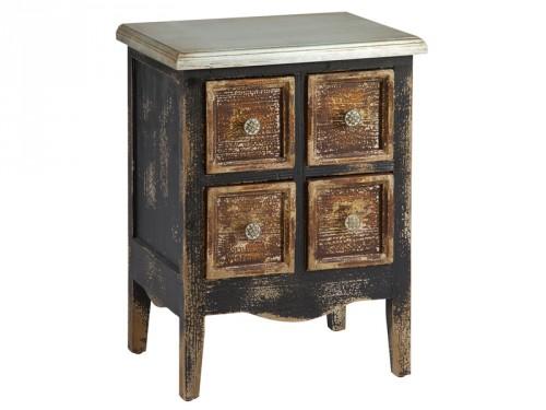 Mueble industrial vintage de madera decapada 4 cajones for Comprar mueble industrial