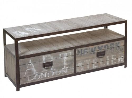 Mueble tv hierro y madera estilo industrial urbano Mesas industriales vintage