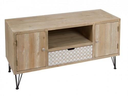 Mueble televisor estilo industrial de abeto con pies de metal for Comprar mueble industrial