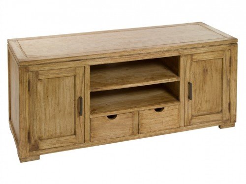 Mueble tv de madera natural envejecida mesas de televisi n - Muebles madera natural ...