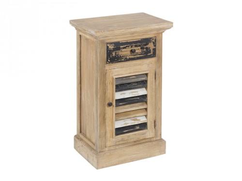 Mueble entrada estrecho de madera decape estilo vintage for Mueble pasillo estrecho