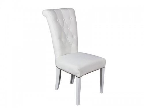 Silla blanca de lino y madera de pino sillas comedor for Sillas de comedor blancas de madera
