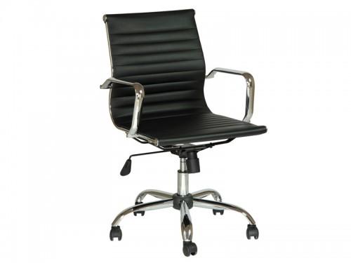 Silla de oficina cromada con asiento de polipiel for Asiento silla oficina