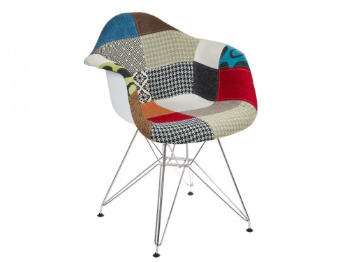 Silla tower patchwork con reposabrazos sillas online for Sillas comedor estampadas