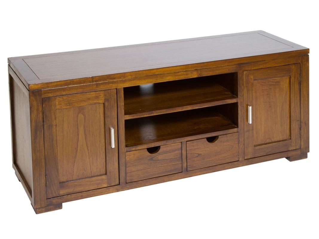 Mueble bajo para tv de madera con 2 puertas estilo r stico for Muebles para cds madera