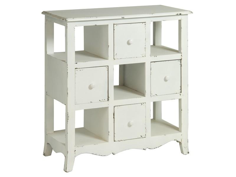Mueble auxiliar blanco estilo vintage de madera decapada for Muebles de salon estilo vintage