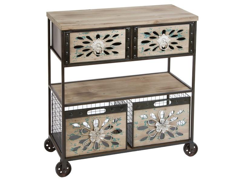 Consola con ruedas cestas y cajones estilo vintage for Mueble auxiliar con ruedas
