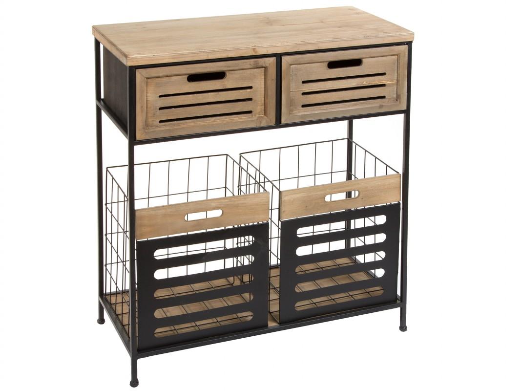Recibidor con cajas de metal estilo industrial venta online for Muebles con cestas