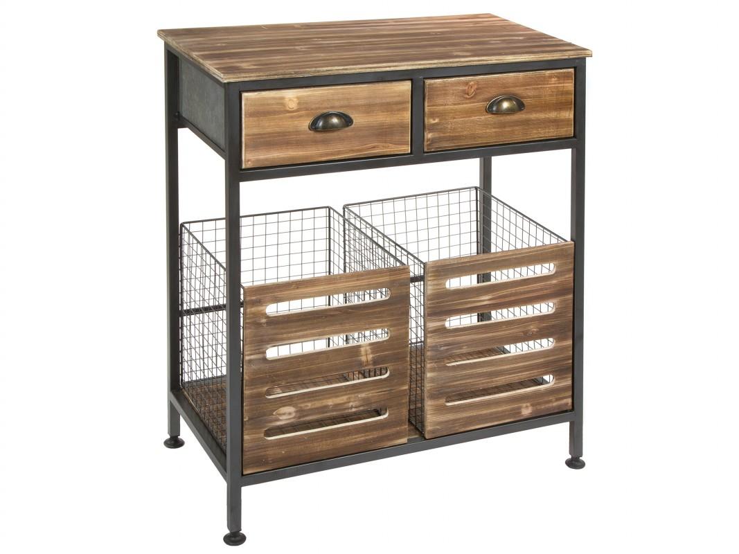 Consola entrada industrial con cestas de metal y madera de abeto