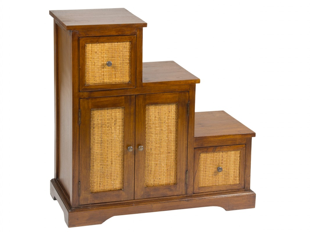 Mueble auxiliar tipo escalera colonial madera y ratt n for Comprar muebles exterior