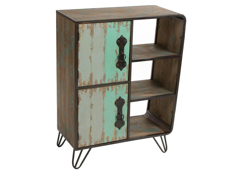 Muebles Metal : Mueble industrial de metal y madera abeto decapada
